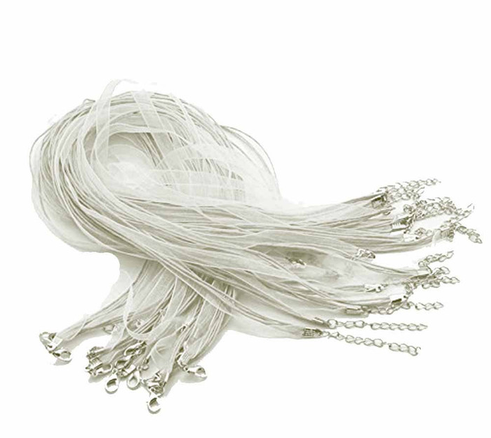 15 Organza Ribbon with Waxen Cord Necklaces Lobster Clasp 17 Inch (White)