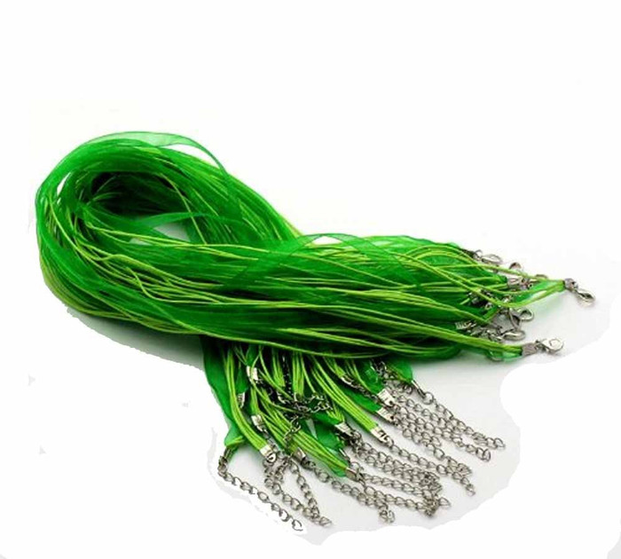 15 Organza Ribbon with Waxen Cord Necklaces Lobster Clasp 17 Inch (Green)