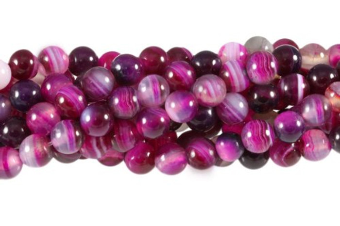 "12mm Rose Striped Agate Round Beads 40cm 15"" Stone"