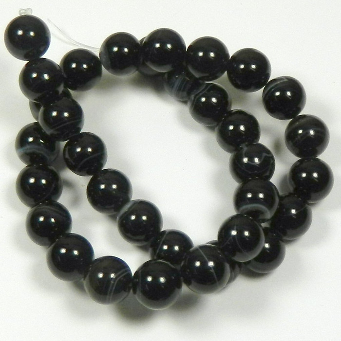 "12mm Black Striped Agate Round Beads 40cm 15"" Stone"