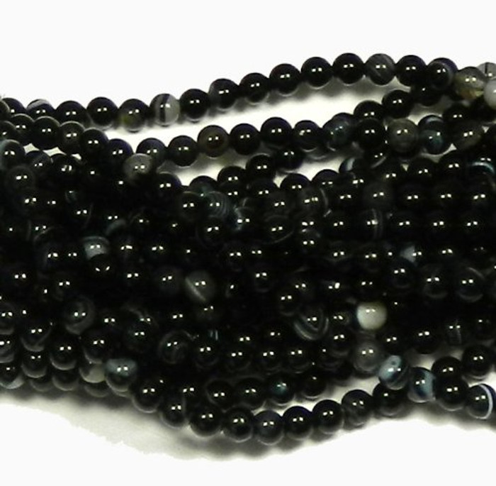 "6mm Black Agate  Round Beads 40cm 15""  Stone"