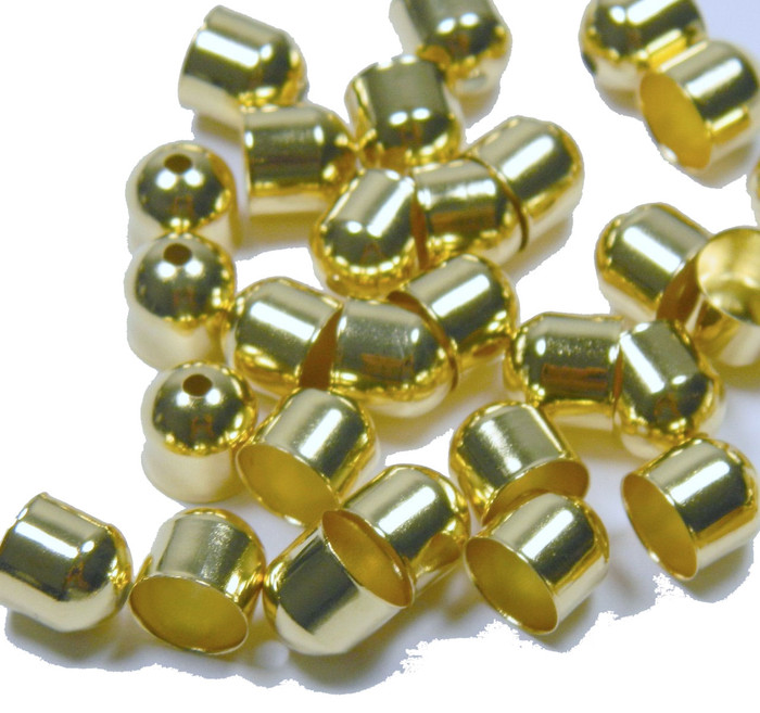 100 Cord Tips/caps Gold-plated Brass 8x8mm Outside DI 7mm Inside DI