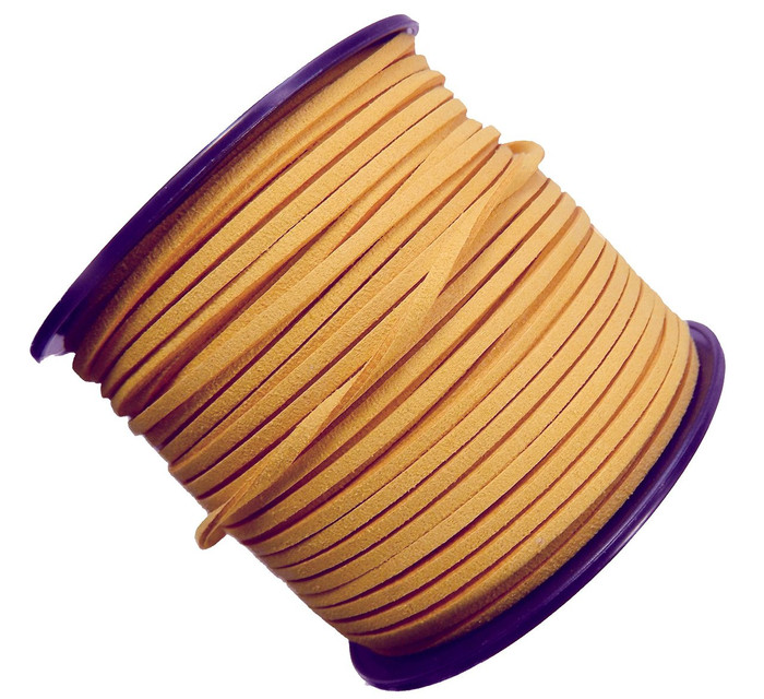 Wheat Gold Micro Fiber Faux Suede 3mm 90 Yard Spool Flat Lace Beading Craft Cord