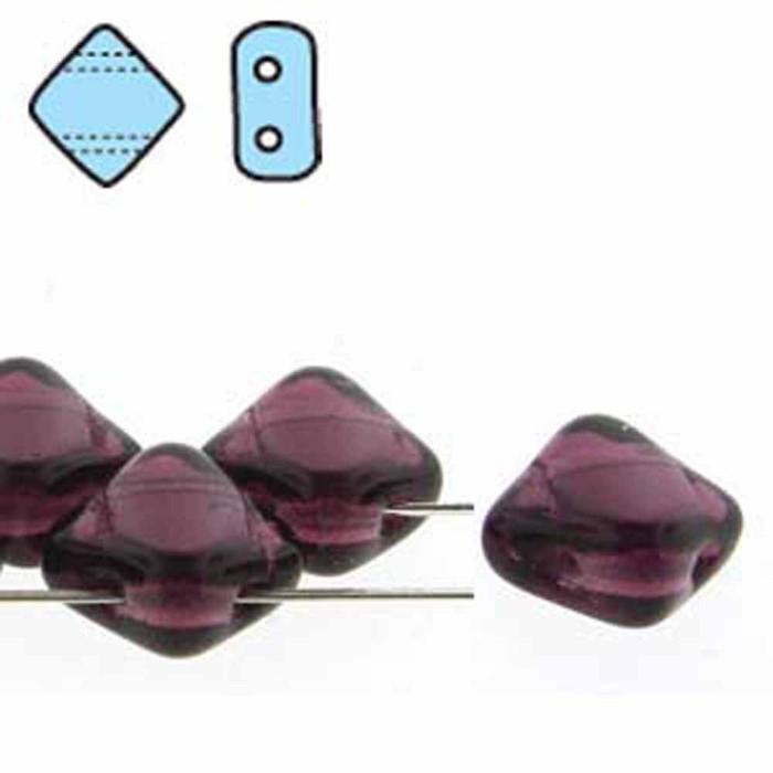 Dark Amathyst 6mm Diamond Glass Czech Two Hole Tile Bead 40 Beads