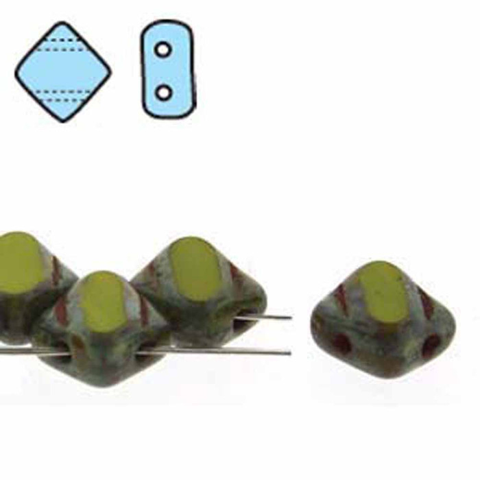 Green Opaque Picasso Table Cut 6mm Diamond Glass Czech Two Hole Tile Bead 40 Beads