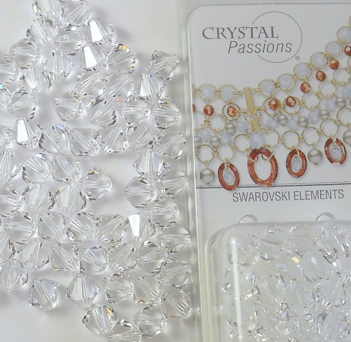 4mm Clear Swarovski Bicone Beads Xillian 144 Piece By Crystal Passions Distributor of Swarovski Elements Crystals Made in Austria Xillion Cut 5328