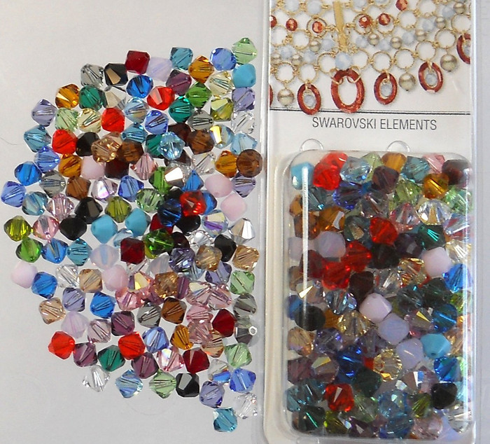 4mm Mixed Swarovski Bicone Beads Xillian 144 Piece By Crystal Passions? Distributor of Swarovski Elements Crystals Made in Austria Xilion Cut 5328