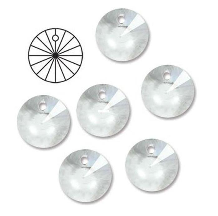 14mm Preciosa Czech Crystal Faceted Round Rivoli Drop Clear Beads 12pc