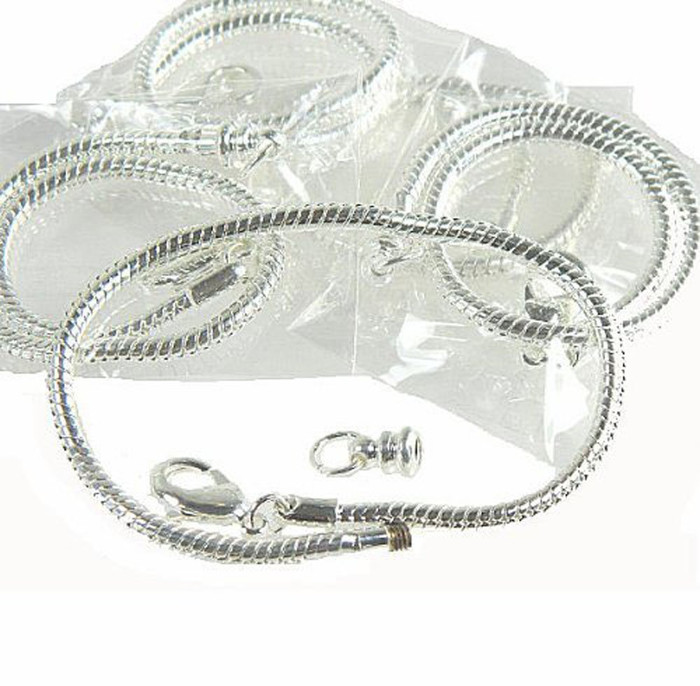 "5 Pack 8"" Bracelet Snake Chain Fits Pandora Chamilia Troll Biagi Beads Fits 3.5mm Holes"