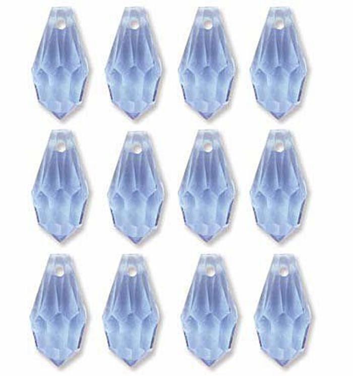 6 5x13mm Preciosa Czech Crystal Faceted Drop Lt Sapphire Beads 12pc