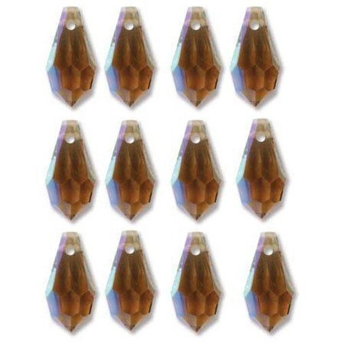 6 5x13mm Crystal Faceted Drop Smoked Topaz AB Beads 498 68 301 12pc