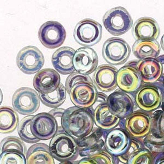 Crystal Blue Rainbow O-beads 3.8x1mm Czech Glass Mini Flat Ring 8 gram