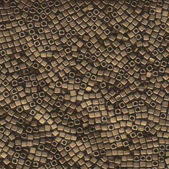 Metallic Dark Bronze Matte 1.8mm Square Cube Miyuki Glass Beads 8 Gram