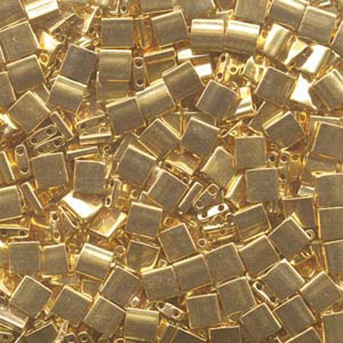 24Kt Gold Plated Miyuki Tila Beads 7.2gm 2 Hole Seed Bead 5x5mm