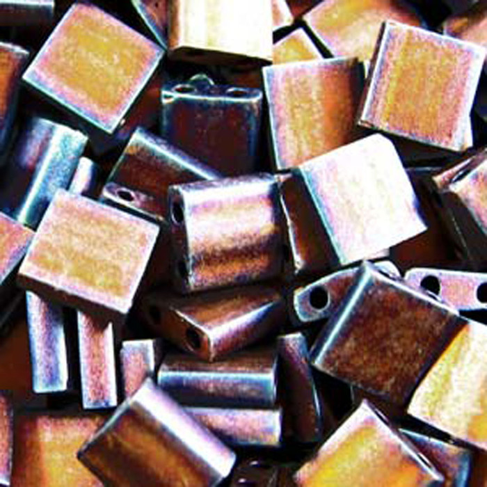 Copper Metalic Matte Miyuki Tila Beads 7.2gm 2 Hole Seed Bead 5x5mm