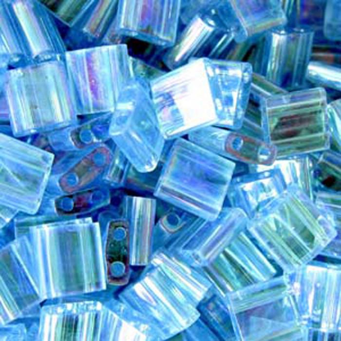 Aqua Ab Miyuki Tila Beads 7.2gm 2 Hole Seed Bead 5x5mm