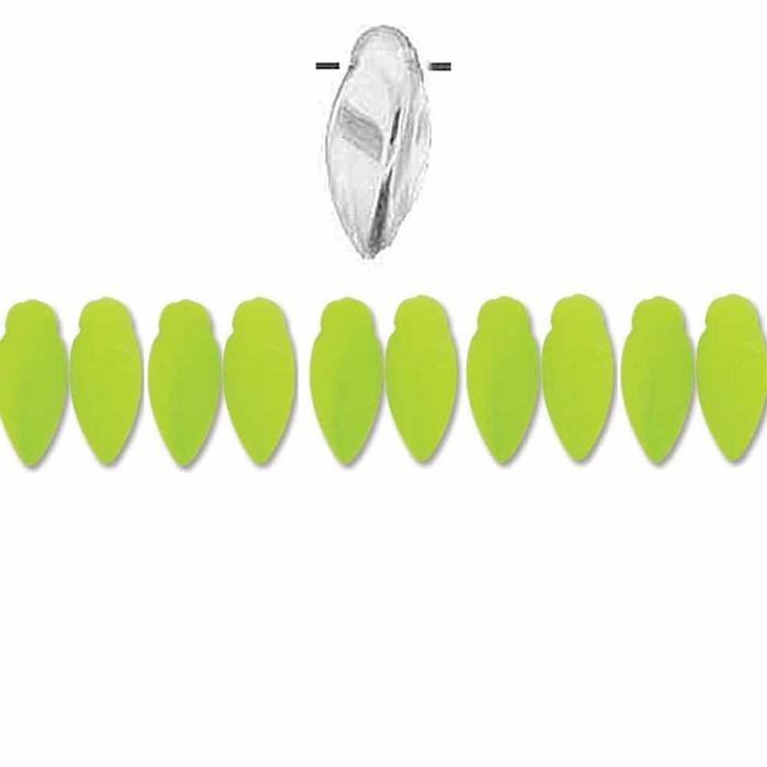 Neon Lime Czech Glass Twist Beads 6x12mm Apprx 25 bead loose strand