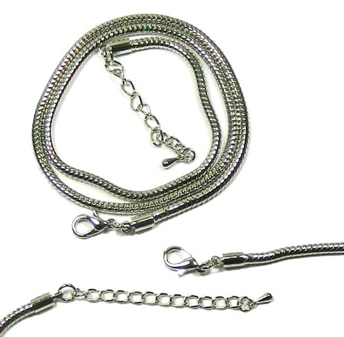 2 Pack 17 1/2 Inch 3mm Thick Snake Chain with Extetion Chain Steel Tone
