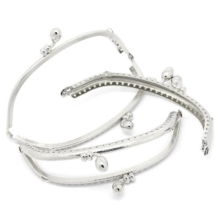 3 Silver Tone Purse Frame Metal Bag Kiss Clasp Lock Curved Design 5x2 Inch 3 Pack