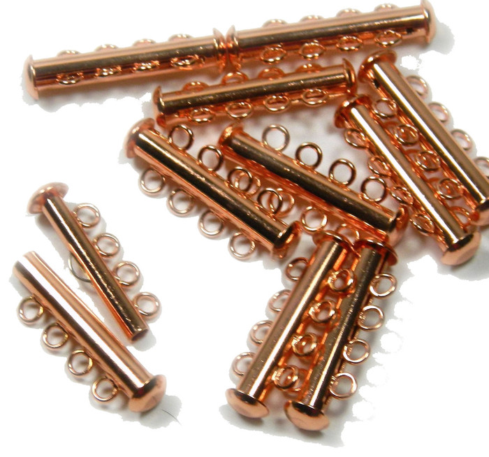 10 Pack Multi 4 Strand Slide Lock Clasps Copper Plated Brass