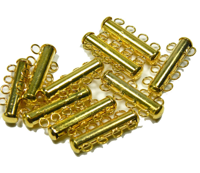 10 Pack Multi 4 Strand Slide Lock Clasps Gold Plated Brass