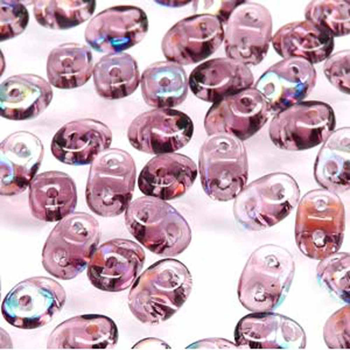 Amethyst AB SuperDuo Czech Two Hole Seed Beads 2.5x5mm 20gr