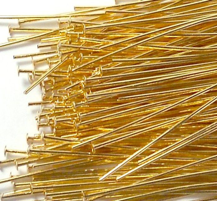 144 Head Pins .029dia X 2 Inch Gold Plated Standard 21 Gauge Wire