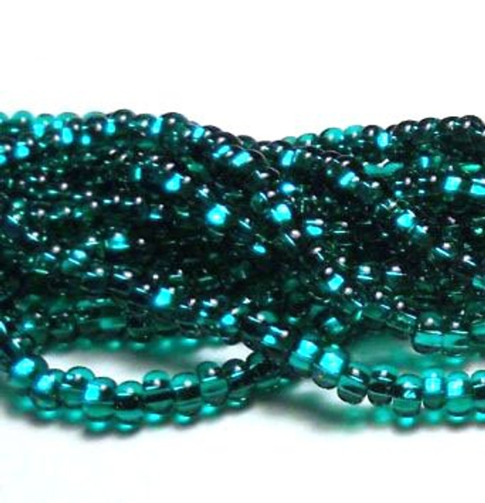 Emerald Silver Lined Czech 6/0 Seed Bead on Loose Strung 6 String Hank