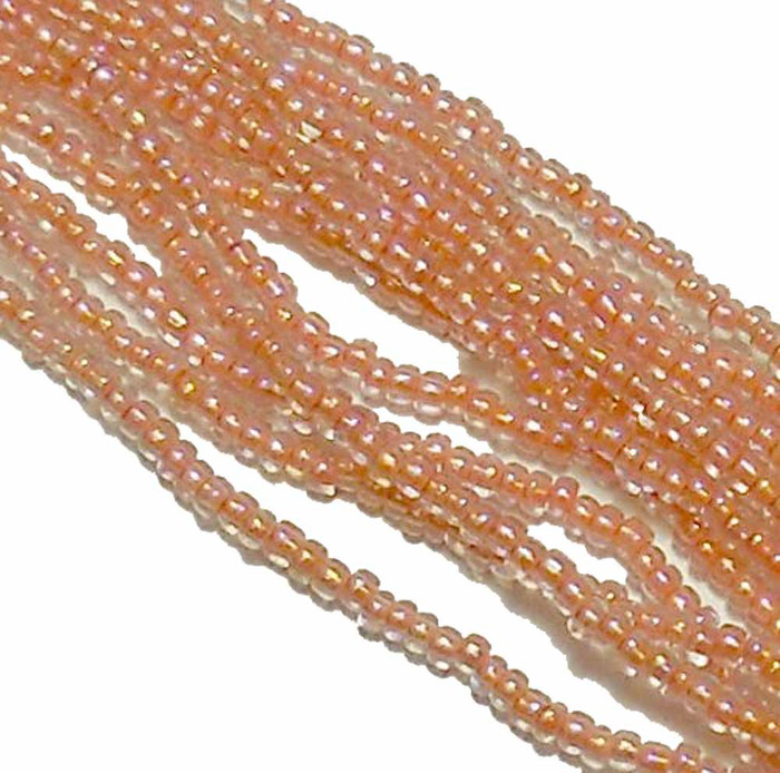 Peach Color Lined Preciosa Czech Glass 6/0 Seed Bead on Loose Strung 6 String Hank
