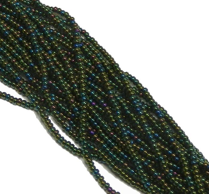 Iris Green Czech 6/0 Seed Bead on Loose Strung 6 String Hank