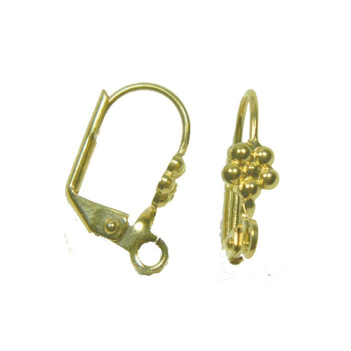 48 Leaver Back Gold-plated Brass Leverback 10x5mm Flower Open Loop 24 Pair