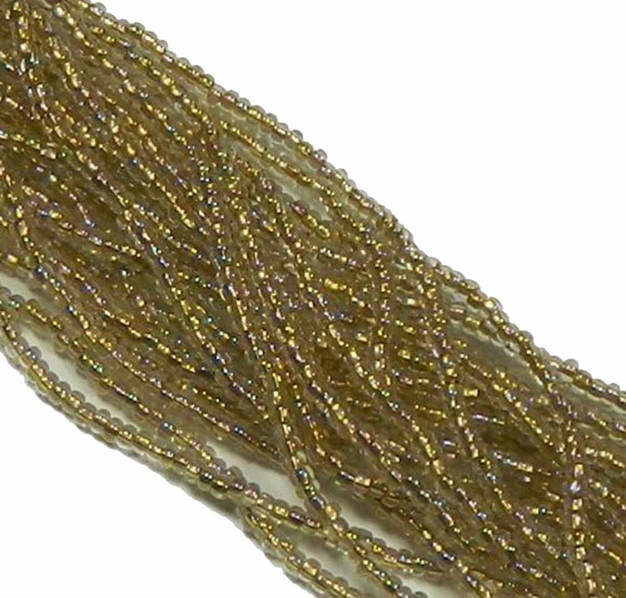 Crystal AB Bronze Lined Preciosa Czech Glass 6/0 Seed Bead on Loose Strung 6 String Hank