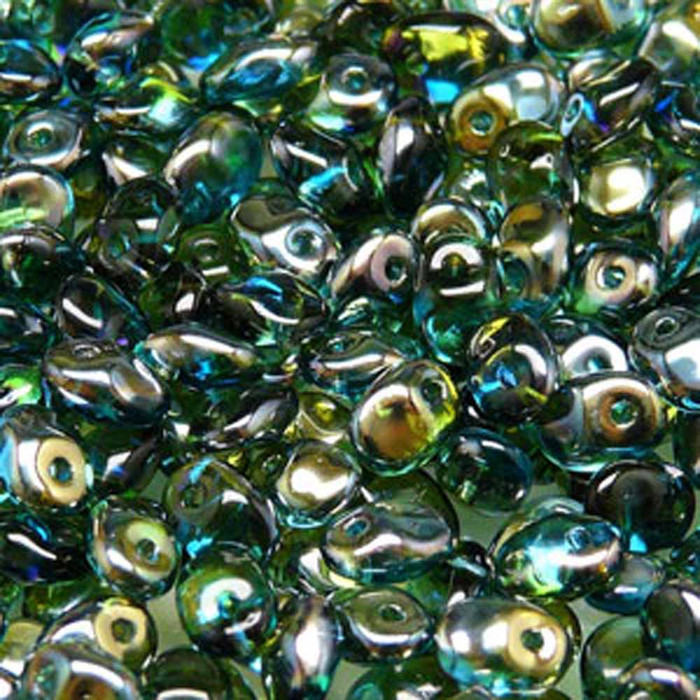 Aqua Green Celsian 2.5x5mm 1 ONE Hole Fringe Czech Glass Seed Beads 20gr
