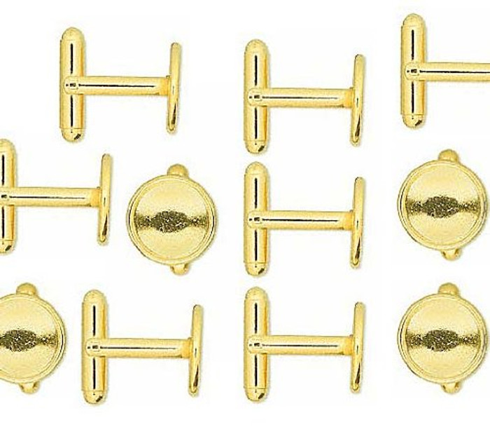 12 Gold-plated Brass Cuff Link, 12mm Round Bezel Cup Cabochon Setting. 6 Pair Jewelry Findings