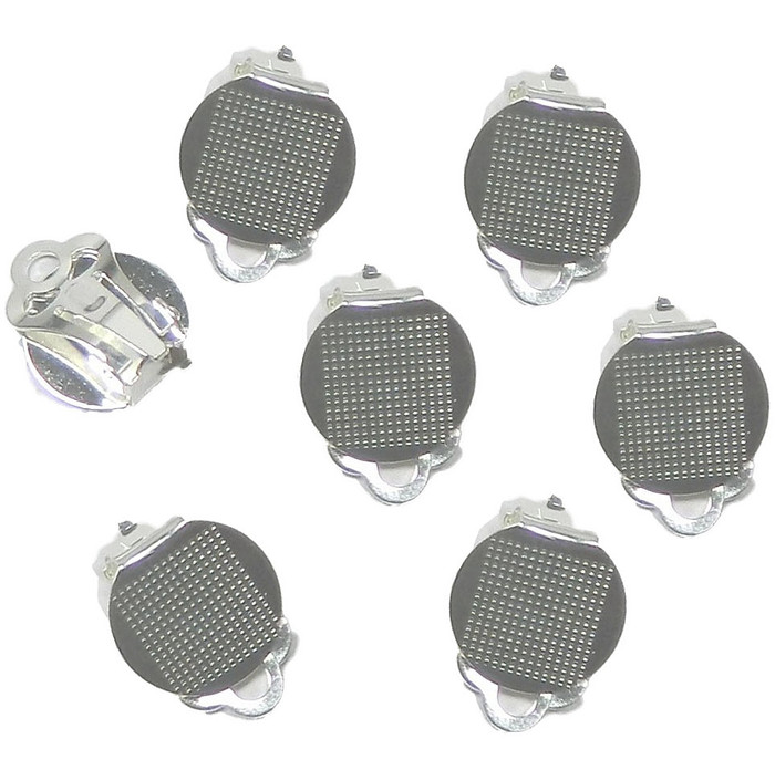 30 Earring Clip-on Silver-plated Steel 12mm Round Flat Pad Loop 15 Pairs