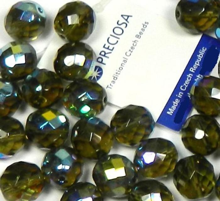 "Black Diamond Ab (Smoke) Czech 10mm Faceted Round Firepolished Glass Beads 16"""