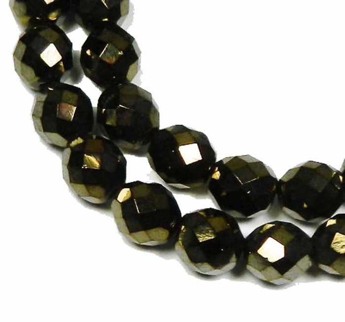 """Iris Brown Czech 10mm Faceted Round Firepolished Glass Beads 16"""""""