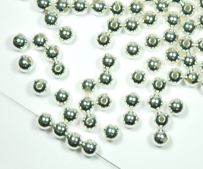 100 Shiny Silver Plated Brass Beads 10mm Smooth Round Jewelry Spacer Bead