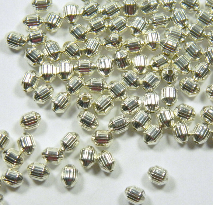 100 Beads Silver-plated Brass, 6x4.5mm Corrugated Cylinder Spacer Metal Bead 100