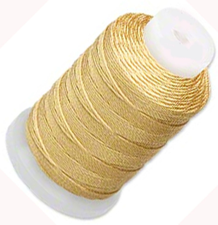 Silk Beading Thread Cord Size F Gold 0.0137 0.3480mm Spool 140 Yd