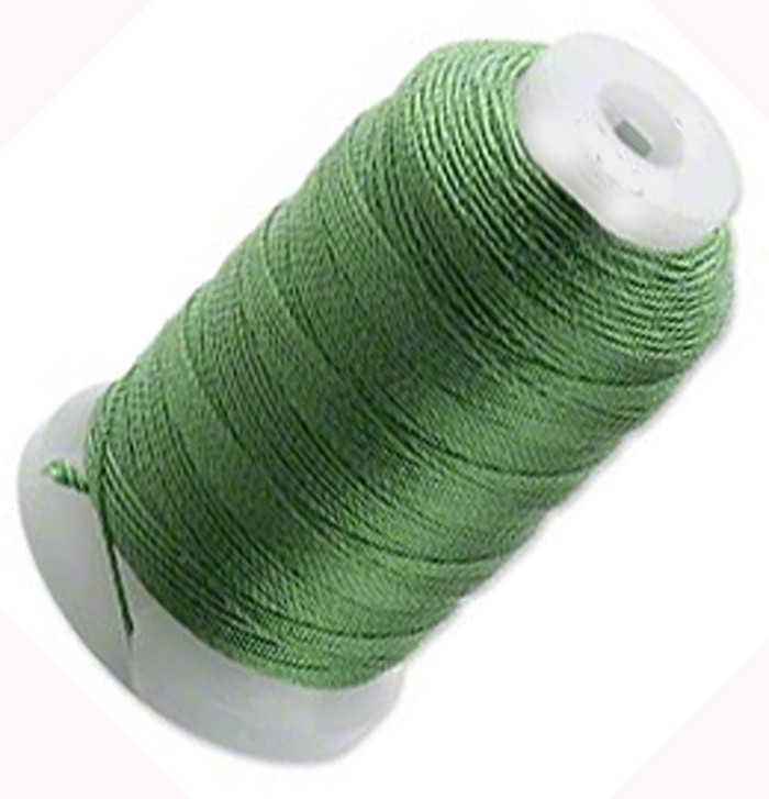 Silk Beading Thread Cord Size FF Dark Green 0.015 Inch 0.38mm Spool 115 Yd