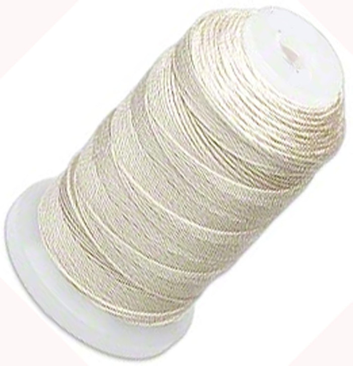 Silk Beading Thread Cord Size FF Ecru 0.015 Inch 0.38mm Spool 115 Yd