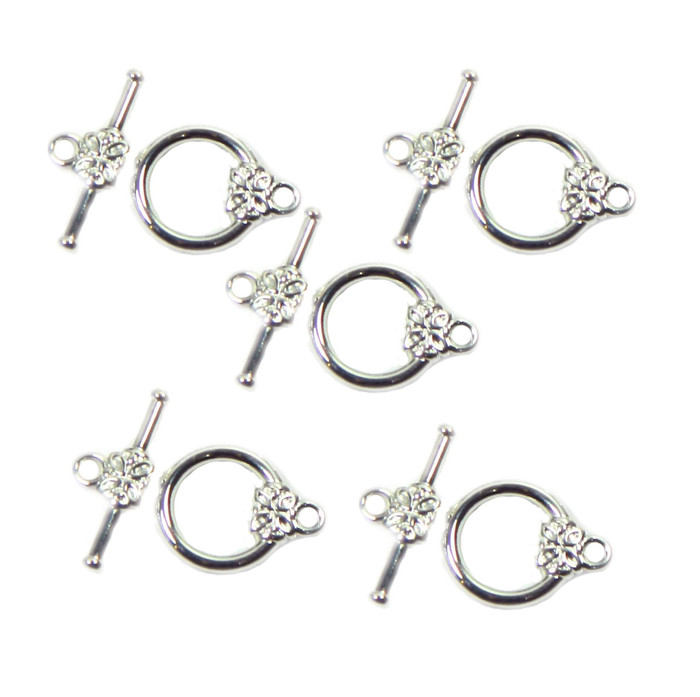 19 Silver Plated Brass Jewelry Toggle Clasps 14mm Flower Design Findings