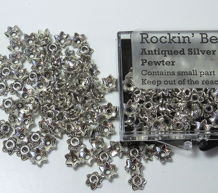 100 Bead Caps 7x2mm Flower for 6mm to 12mm Beads Antiqued Silver Cast Pewter Metal