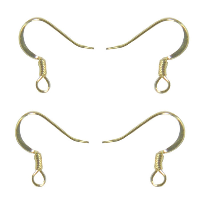 200 Surgical Steel Earring Earwires 16mm Hypoallergenic Shiny Gold Plated Fishhook Flat Side Coil 100 Pairs 200