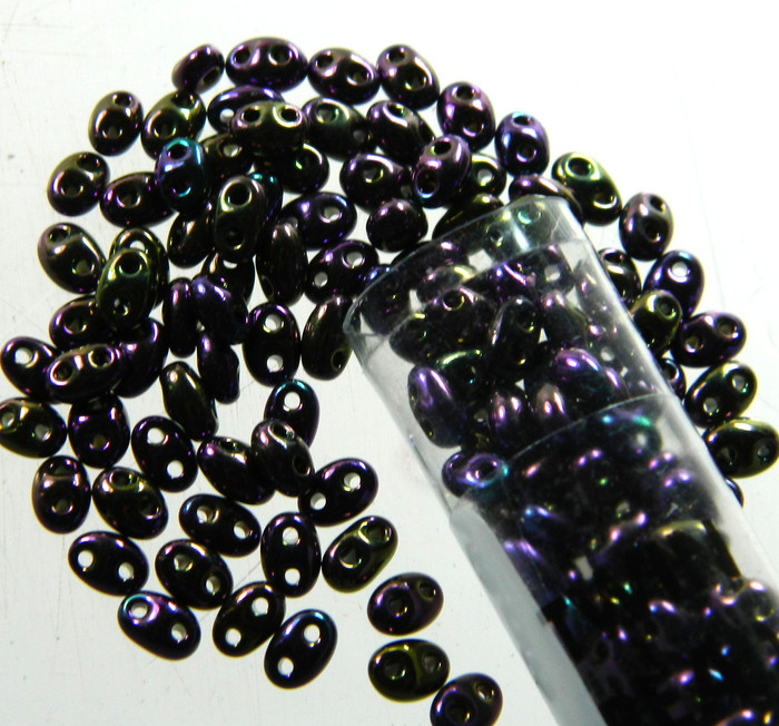 Dark Purple 2.5x5mm 2 Hole Twin Beads Czech Glass Seed Beads 23 Gram Tube
