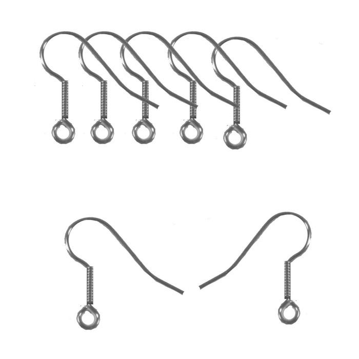 Surgical Steel Earring Earwires Hypoallergenic Unplated Fishhook Silver 10mm Coil Open Loop 21 Gauge 100 Pairs 200