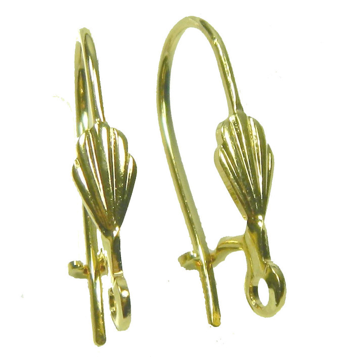 48 Leaver Back Kidney Style Gold-plated Brass 18mm Earwires 6x3 5mm Shell Open Loop 22 Gauge 24 Pairs