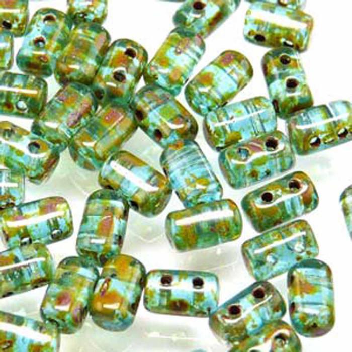 Rulla AQUAMARINE TRAVERTINE Czech Glass Seed Beads 3x5mm 20 Gram Tube (2 Hole)