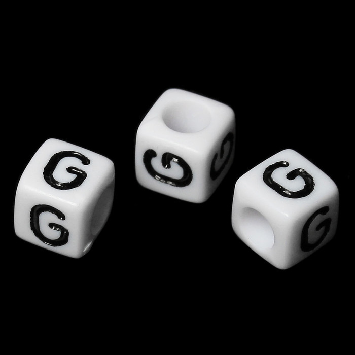 "100 Letter ""G"" Black on White Acrylic Alphabet Cube Spacer Beads 6mm Approx 1/4 Inch"